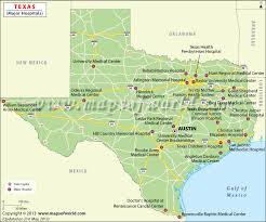 tecas map buy map with major hospitals
