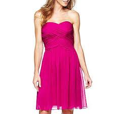 jcpenney bridesmaid lilianna strapless dress fuschia pink magenta jcpenney wedding