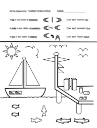 geometry math picture worksheets set of 2 angles and transformations