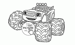 funny blaze the monster truck coloring page for kids
