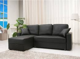 Chaise Lounge Double Living Room Black Faux Leather Sleeper Sofa With Left Chaise