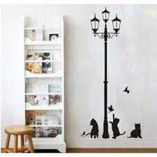Wall Stickers Cats Street Lamp Cat Bird Wall Sticker Wallstickerscool Com Au Wall