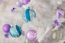New Year Tree Decorations by Closeup Of Christmas Tree Decorations Silver Background Blue