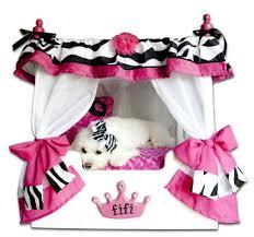 pink zebra canopy dog bed