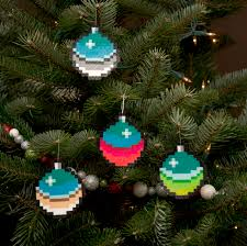 i create pixelated ornaments for your retro