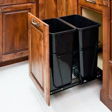 Pull Out Drawers In Kitchen Cabinets Amazon Com 35 Quart Double Pull Out Waste Container System 2 Cans