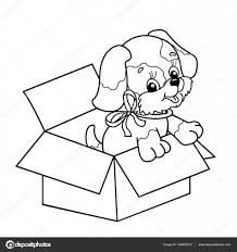 coloring page outline of cute puppy in box cartoon dog with bow