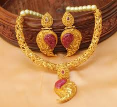 gold necklace sets designs images Buy awesome designer one gram gold necklace set with earrings online jpg