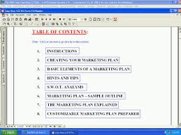 table of contents from business plan maker program of the business