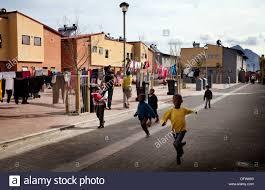 cape town south africa children run through a newly developed