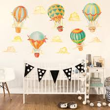 up away hot air balloon watercolor wall decal kit hot air zoom