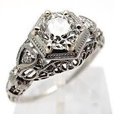 antique engagement rings art deco old euro diamond 18k white