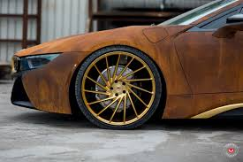 bmw i8 gold the first rusted bmw i8 by metrowrapz for austin mahone x vossen