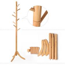 sweet portable free standing wooden coat rack design with image
