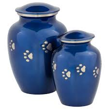 urns for pets blue with silver paw prints pet urn medium