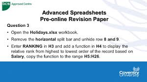 Online Spreadsheets Ecdl Coventry University Advanced Spreadsheets Pre Online