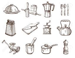 dessin ustensile de cuisine collection of detailed kitchen utensils on a white background