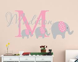 Pink Elephant Nursery Decor Elephant Wall Decal Nursery Name Decal Elephant Nursery