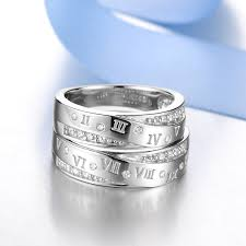 engraved wedding rings blue sweet rings numerals engraved wedding rings set