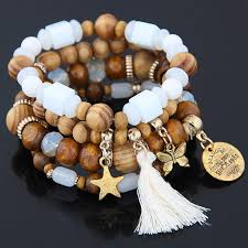 men bracelet bead images 4pcs set charm wood beads bracelet for women ethnic tension mount jpg
