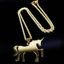 stainless steel necklace pendant images 2018 fashion long gold color unicorn stainless steel necklace for jpg