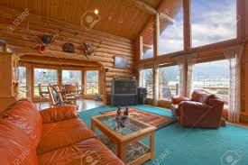 Large Living Room Furniture Large Living Room In The Rustic Log Cabin On The Horse Farm Stock