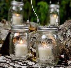 outdoor mason jar candle holder with wire handle hanging trees ideas