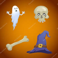 halloween elements cartoon style halloween symbols set funny ghost skull with eyes