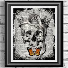 skull with crown and snake print vintage skull poster