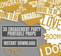 engagement photo props 35 gold glitter engagement party printable props