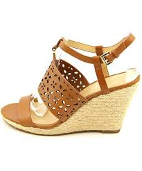 michael michael kors darci wedge open toe leather wedge sandal in