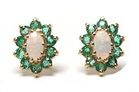 cluster stud earrings 9ct gold opal and emerald oval cluster stud earrings co uk