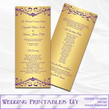 gold wedding programs purple and gold wedding program template diy gold foil tea length