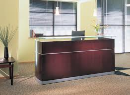 Reception Station Desk by Napoli Wood Veneer Reception Station With Glass Transaction Top