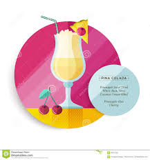 pina colada drink recipe menu for cocktail party stock vector
