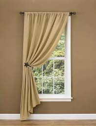 Country Porch Curtains Burlap Unlined Single Tieback Curtain Panel
