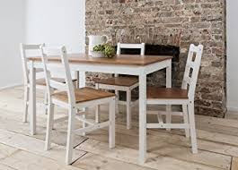pine dining room table dining table 4 chairs annika in white and natural pine natural