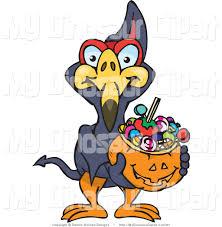 halloween basket clipart of a trick or treating terradactyl bird holding a pumpkin