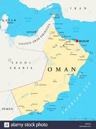 Middle East Map Labeled by Oman Political Map With Capital Muscat National Borders And Stock
