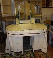Upcycled Vanity Table Kidney Shaped Dressing Table In Annie Sloan Old White By Retroville
