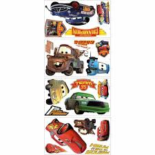 roommates mickey and friends peel and stick wall decals rmk1507scs 5 in x 11 5 in cars piston cup champs 19 piece peel