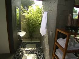 tropical outdoor bathroom built in white wooden storage ideas