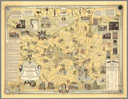 Paper Town Map Boston Birthplace Of The Telephone A Pictorial Map Of The Down