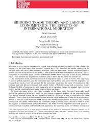 bridging trade theory and labour econometrics labour economics