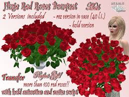100 Roses Second Life Marketplace Huge Red Roses Bouquet Valentine U0027s