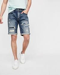 light wash denim shorts slim 9 inch light wash destroyed stretch denim shorts express