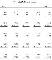bluebonkers printable subtraction math practice pages triple