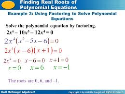 example 3 using factoring to solve polynomial equations