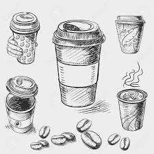hand drawn doodle sketch vintage paper cup of coffee takeaway