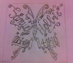 butterfly with childrens names tattoos